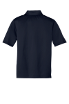 Navy Port Authority Youth Silk Touch Performance Polo as seen from the back