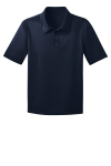 Navy Port Authority Youth Silk Touch Performance Polo as seen from the front