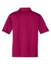 Pink Raspberry Port Authority Youth Silk Touch Performance Polo as seen from the back