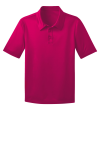 Pink Raspberry Port Authority Youth Silk Touch Performance Polo as seen from the front