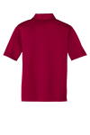Red Port Authority Youth Silk Touch Performance Polo as seen from the back