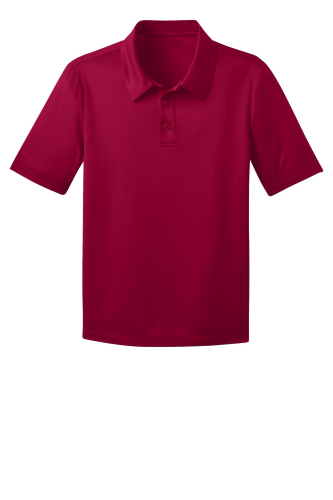 Red Port Authority Youth Silk Touch Performance Polo as seen from the front