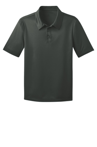 Steel Grey Port Authority Youth Silk Touch Performance Polo as seen from the front