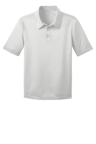 White Port Authority Youth Silk Touch Performance Polo as seen from the front