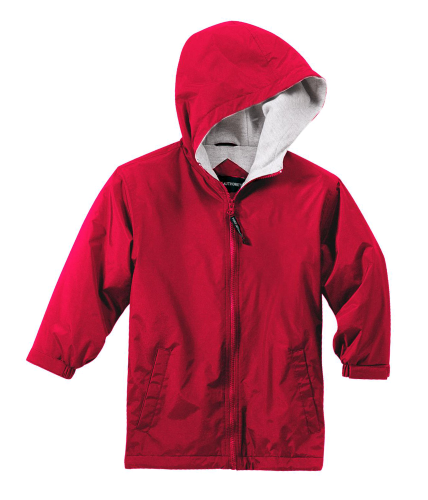 Red Port Authority Youth Team Jacket as seen from the front