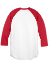 White Tr Red Sport-Tek Youth PosiCharge Baseball Jersey as seen from the back
