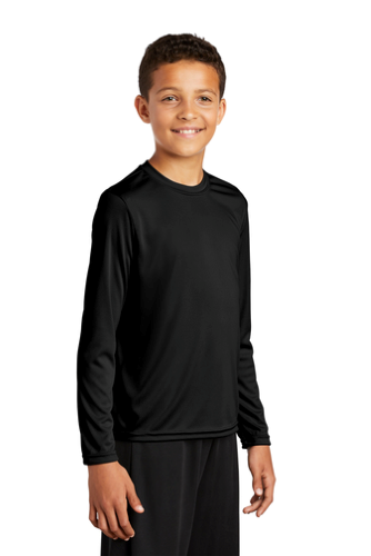 Black Sport-Tek Youth Long Sleeve Competitor Tee as seen from the front