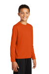 Deep Orange Sport-Tek Youth Long Sleeve Competitor Tee as seen from the front