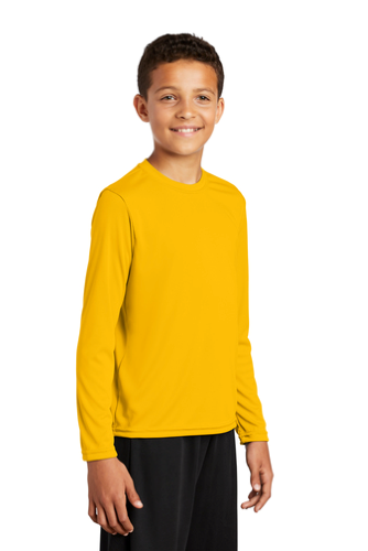 Gold Sport-Tek Youth Long Sleeve Competitor Tee as seen from the front
