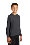 Iron Grey Sport-Tek Youth Long Sleeve Competitor Tee as seen from the front