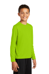 Lime Shock Sport-Tek Youth Long Sleeve Competitor Tee as seen from the front