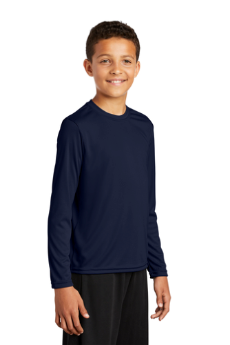 True Navy Sport-Tek Youth Long Sleeve Competitor Tee as seen from the front