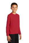 True Red Sport-Tek Youth Long Sleeve Competitor Tee as seen from the front