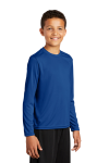 True Royal Sport-Tek Youth Long Sleeve Competitor Tee as seen from the front