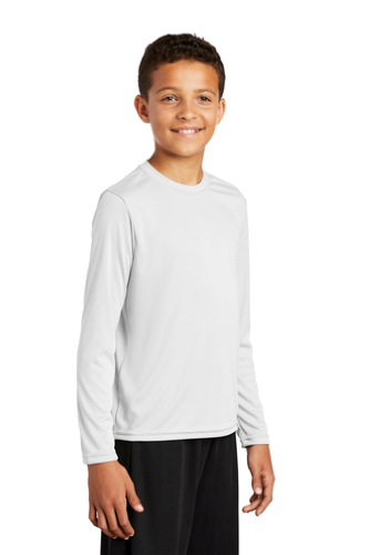 White Sport-Tek Youth Long Sleeve Competitor Tee as seen from the front