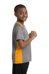 Vnt He Gold Sport-Tek Youth Heather Colorblock Contender Tee as seen from the sleeveleft