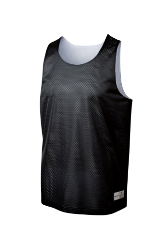 Black Wh Sport-Tek Youth PosiCharge Classic Mesh ™ Reversible Tank as seen from the front
