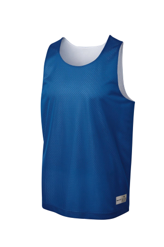 True Royal Wh Sport-Tek Youth PosiCharge Classic Mesh ™ Reversible Tank as seen from the front
