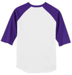 White Purple Sport-Tek Youth Colorblock Raglan Jersey as seen from the back