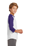 White Purple Sport-Tek Youth Colorblock Raglan Jersey as seen from the sleeveleft