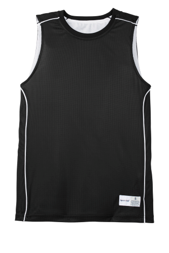 Black White Sport-Tek Youth PosiCharge Mesh Reversible Sleeveless Tee as seen from the front