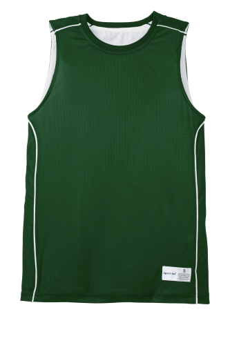 Forest Grn Wht Sport-Tek Youth PosiCharge Mesh Reversible Sleeveless Tee as seen from the front