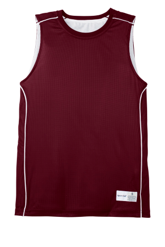 Maroon White Sport-Tek Youth PosiCharge Mesh Reversible Sleeveless Tee as seen from the front