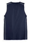 True Navy Wht Sport-Tek Youth PosiCharge Mesh Reversible Sleeveless Tee as seen from the back