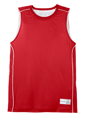 True Red White Sport-Tek Youth PosiCharge Mesh Reversible Sleeveless Tee as seen from the front