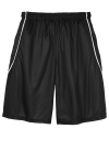 Black White Sport-Tek Youth PosiCharge Mesh Reversible Spliced Short as seen from the back