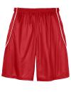 True Red White Sport-Tek Youth PosiCharge Mesh Reversible Spliced Short as seen from the back