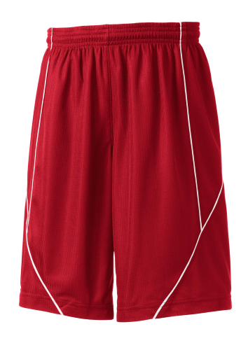 True Red White Sport-Tek Youth PosiCharge Mesh Reversible Spliced Short as seen from the front